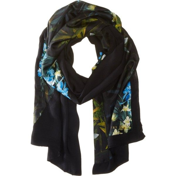 Ted Baker London Women's Susani Twilight Floral Split Scarf Printed ($125) ❤ liked on Polyvore featuring accessories, scarves, ted baker, floral shawl, floral print scarves and floral scarves