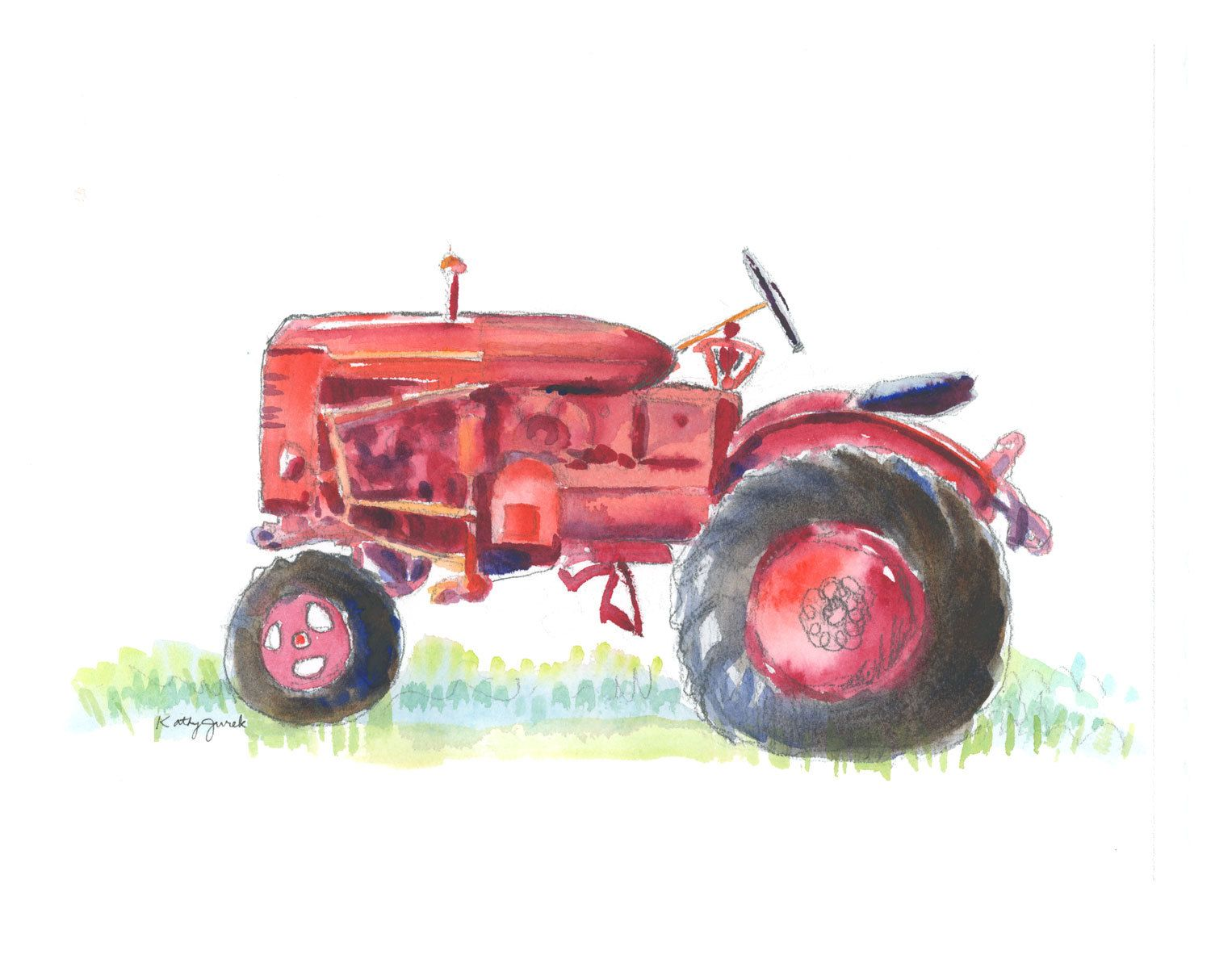 Red Farmhouse Drawing Old Red Farm Tractor Watercolor Art Print By Kathyjurek