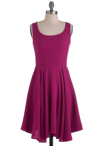dd6e21e41569 Sleeveless rayon dress in bright fuchsia