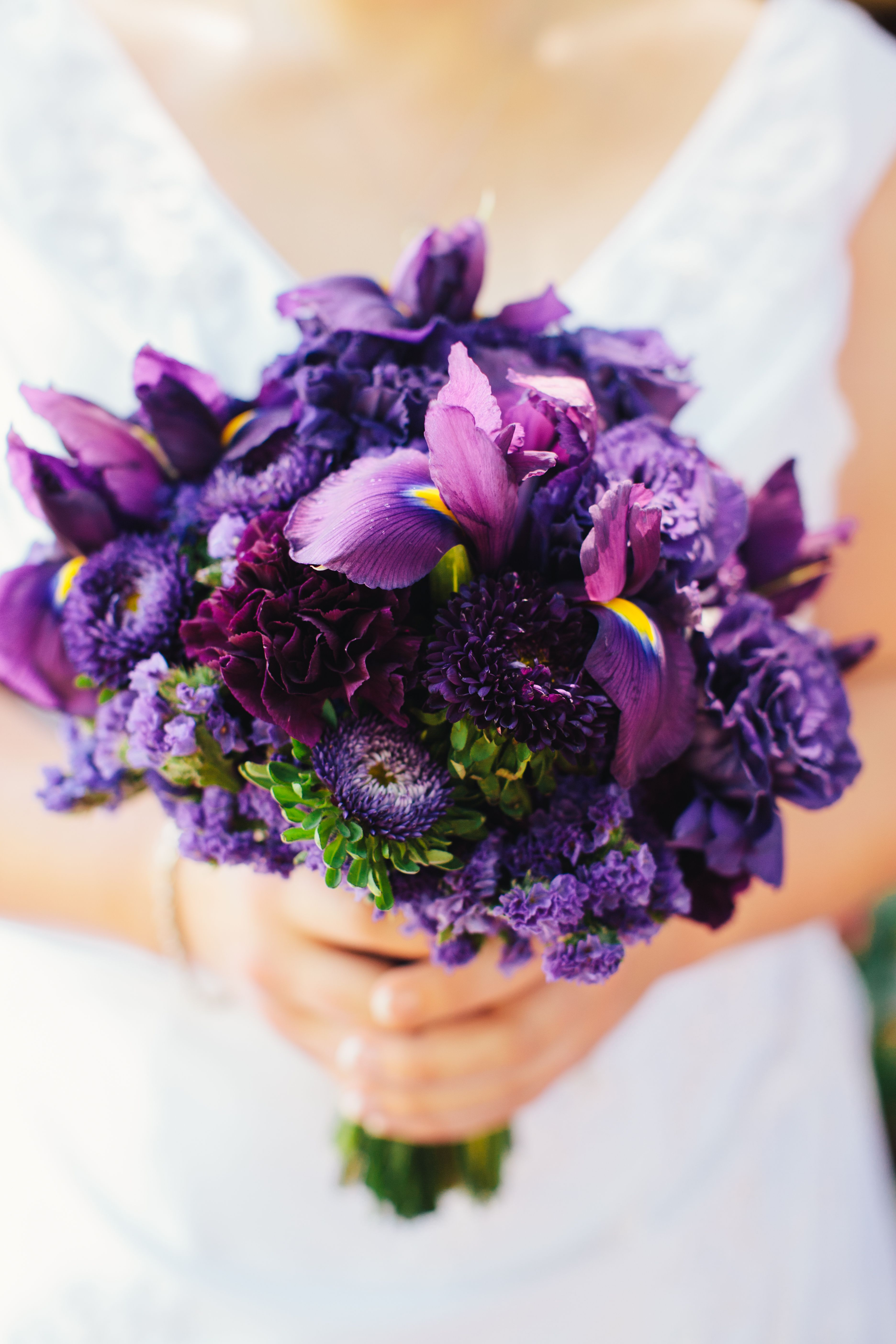 Purple Bridal Bouquet With Iris Aster Carnations Amp Statice Photograph By Katy Weaver