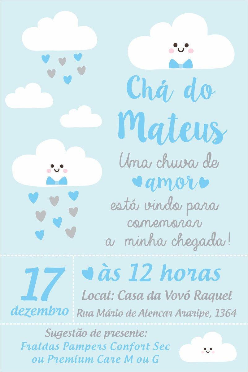 Arte Convite Digital Cha De Bebe Chuva De Amor Bencaos Com