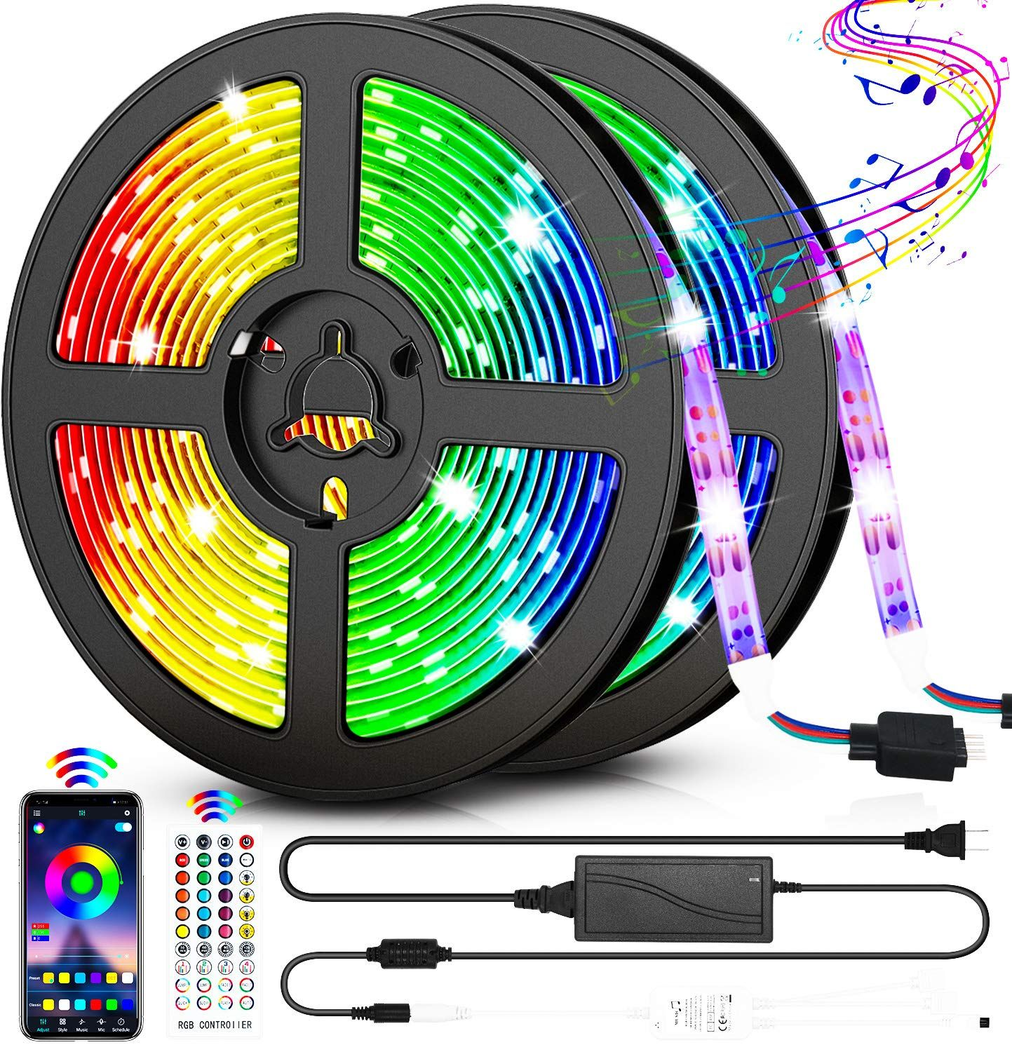 Led Strip Lights 32 8ft Rgb Color Changing Rope Lights 300 Leds Smd5050 Light Strips Voice And Mu In 2020 Color Changing Rope Lights Led Strip Lighting Strip Lighting