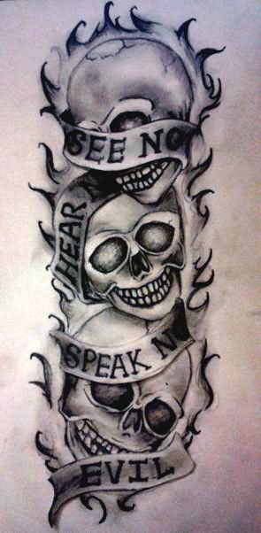 22f19a043 beautiful skull tattoos for women. See no evil, Hear no evil, Speak no evil  skull tattoo design (18)