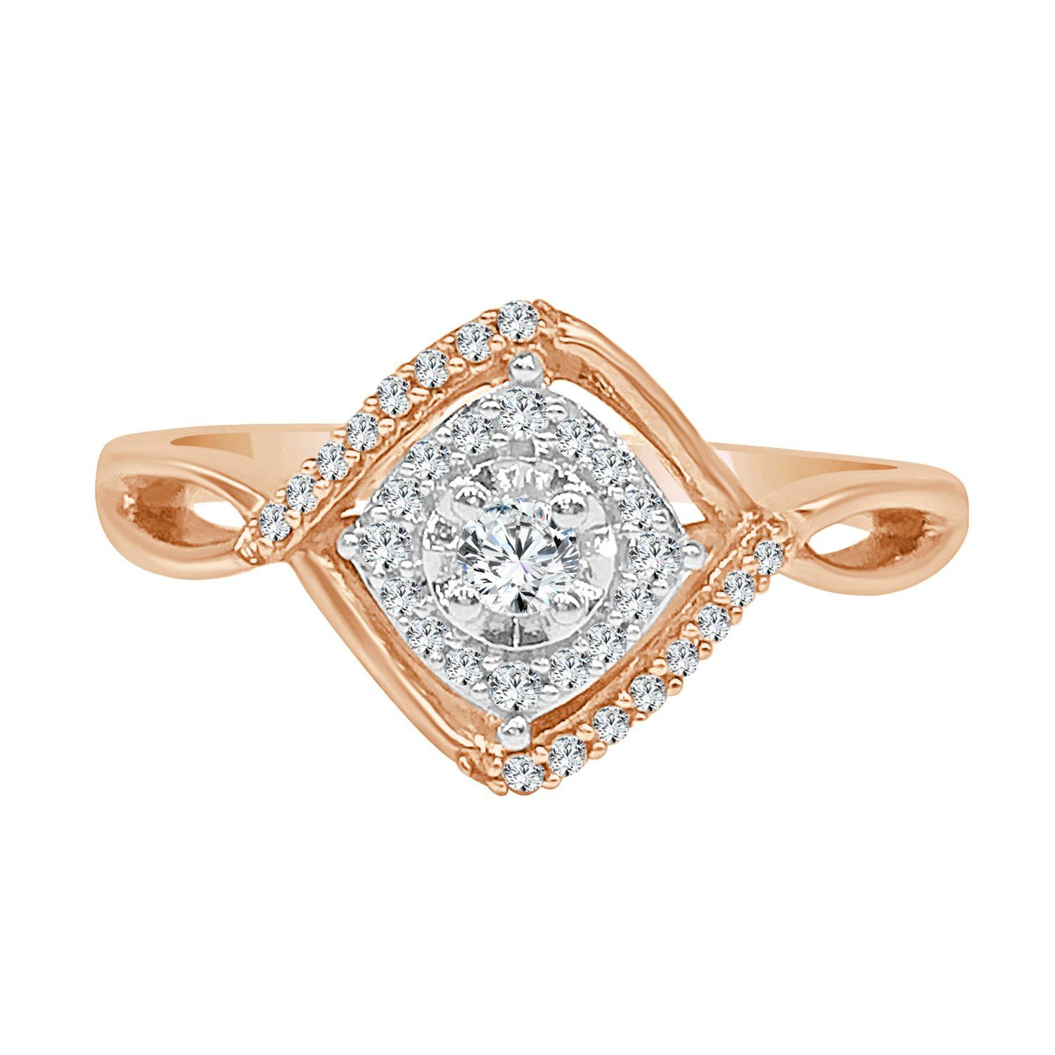10 Karat Two Tone 0 2 Diamond Engagement Ring Unique Engagement Rings Rose Gold Engagement Ring Diamond Engagement Rings