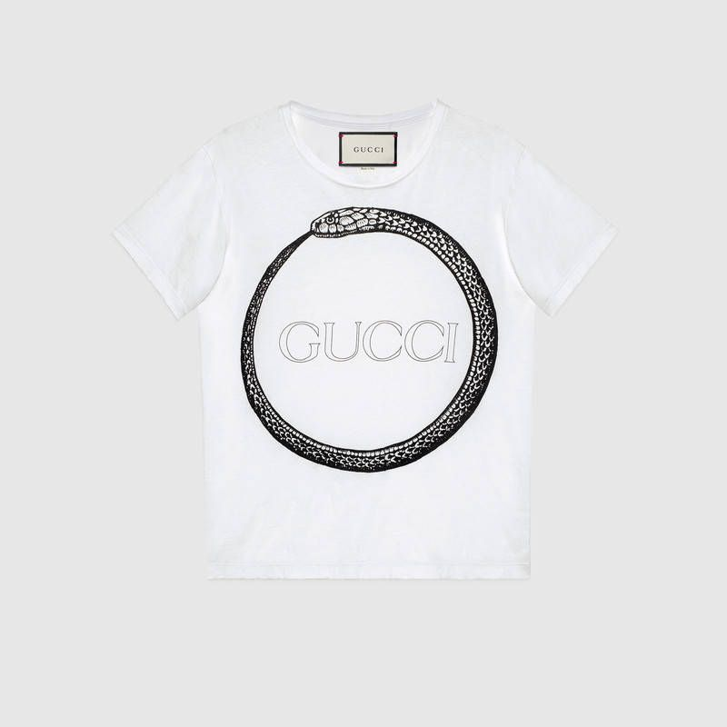 3576db8e62a Shop the Gucci Ouroboros print T-shirt by Gucci. This relaxed cotton tee  features an ancient Egyptian symbol