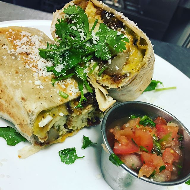 Burrito Special Your Choice Of Vegetarian Chorizo Breakfast Sausage Or Bacon Call Ahead For A Take O Breakfast Tacos Sausage Breakfast Breakfast Burritos