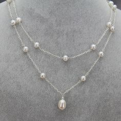 Teardrop Pearl Pendant Double Strand Station Necklace Aaa 7 10mm Natural White Freshwater Cultured Real Pearl Necklace Diamond Cross Necklaces Jewelry