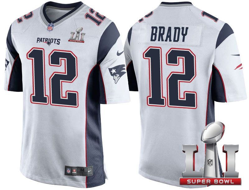 tom brady super bowl li white jersey