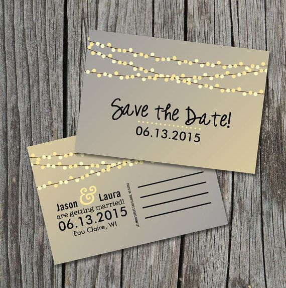 Save the Date Postcard - String of Lights Rustic Wedding   String ...