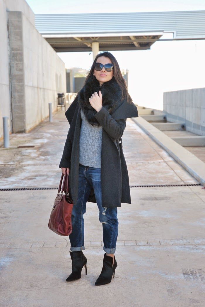 Boyfriend Jeans and Grey Coat.