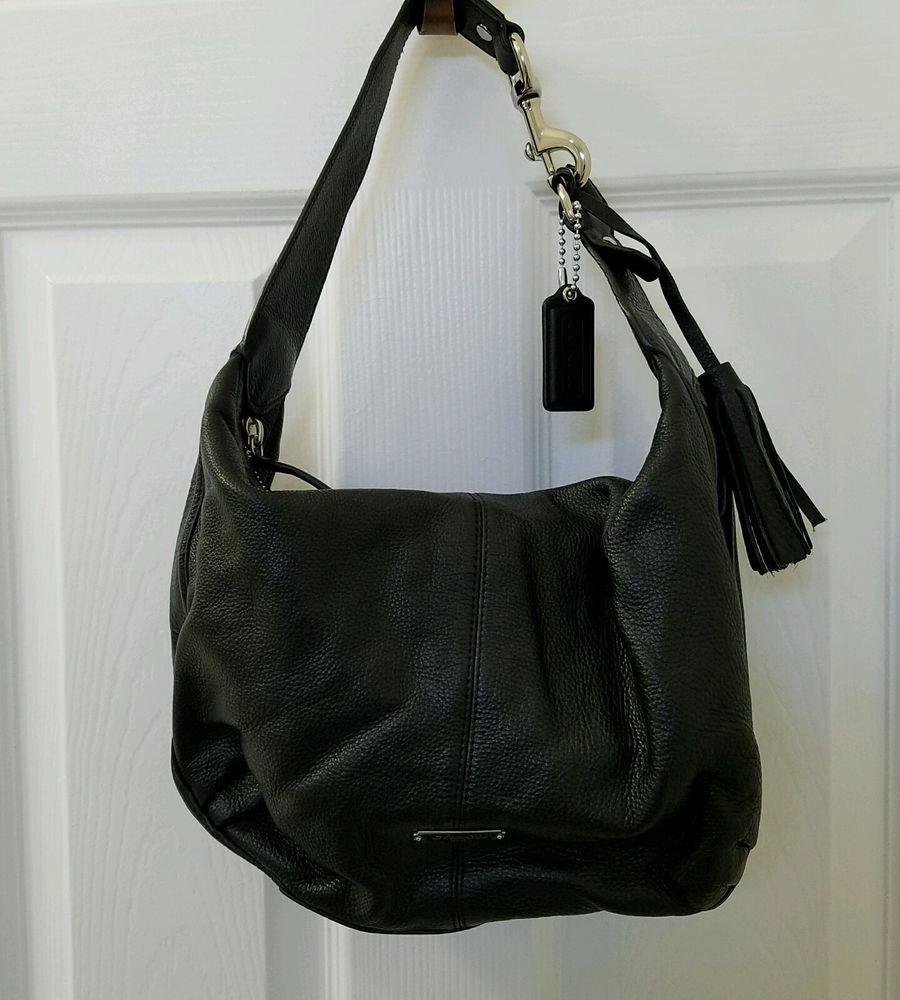 b32fdc69aa Coach Avery Black Pebbled Leather Tassel Hobo Shoulder Bag F23960 Purse   Coach  ShoulderBag