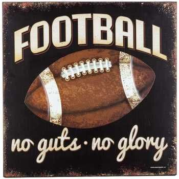 football no guts no glory wood embossed metal wall plaqueopen road brands