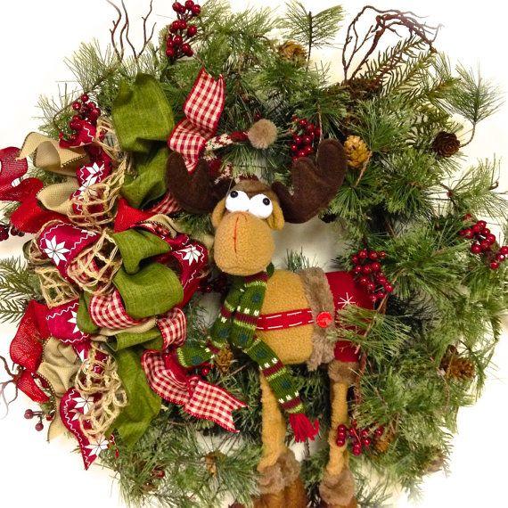 Reindeer Wreath Christmas Wreath Rustic Country Pine Wreath 27