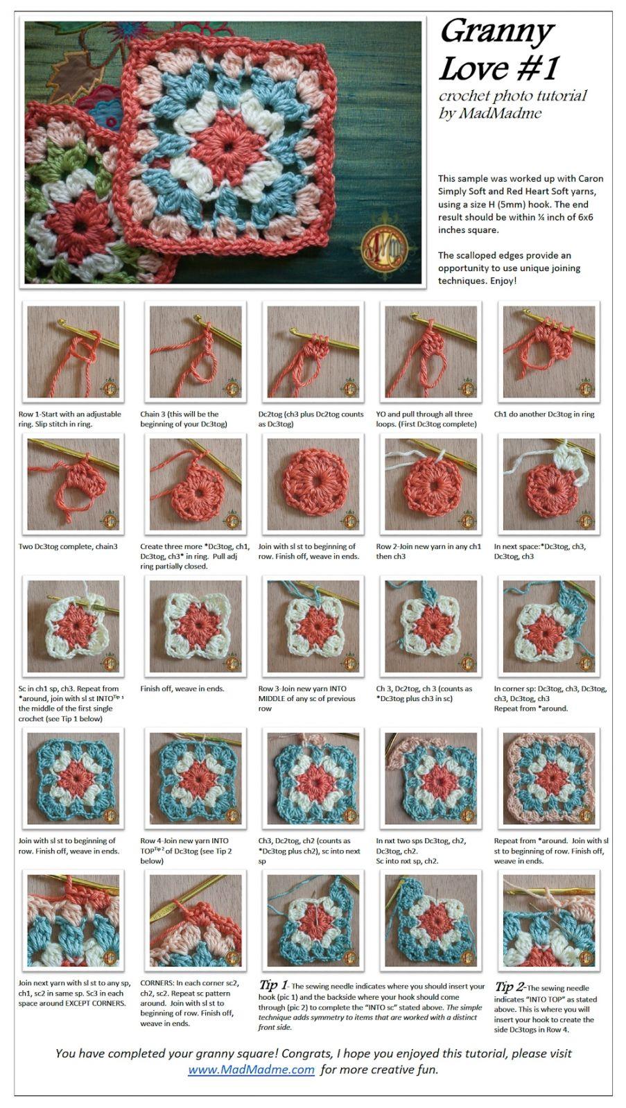 Granny Love #1~Photo Tutorial ~ free pattern | Crochet Squares ...
