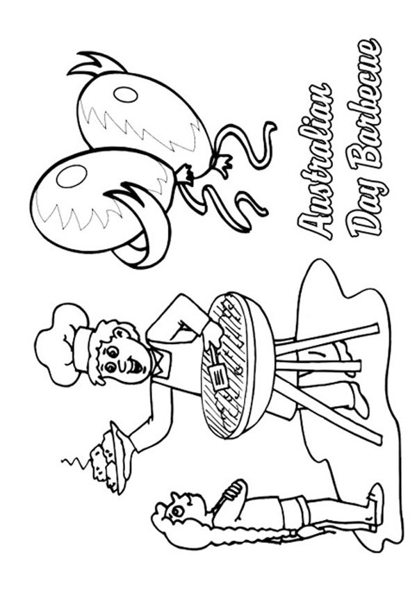 Free Online Australian Day Barbecue Colouring Page Kids Activity