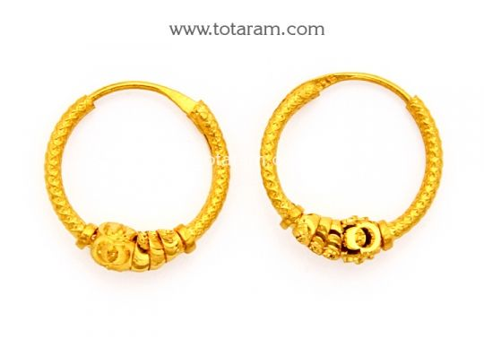 Gold Hoop Earrings Ear Bali In 22k Ger6712 This Indian Jewelry Design From Totaram Jewelers For A Low Price Of 106 99