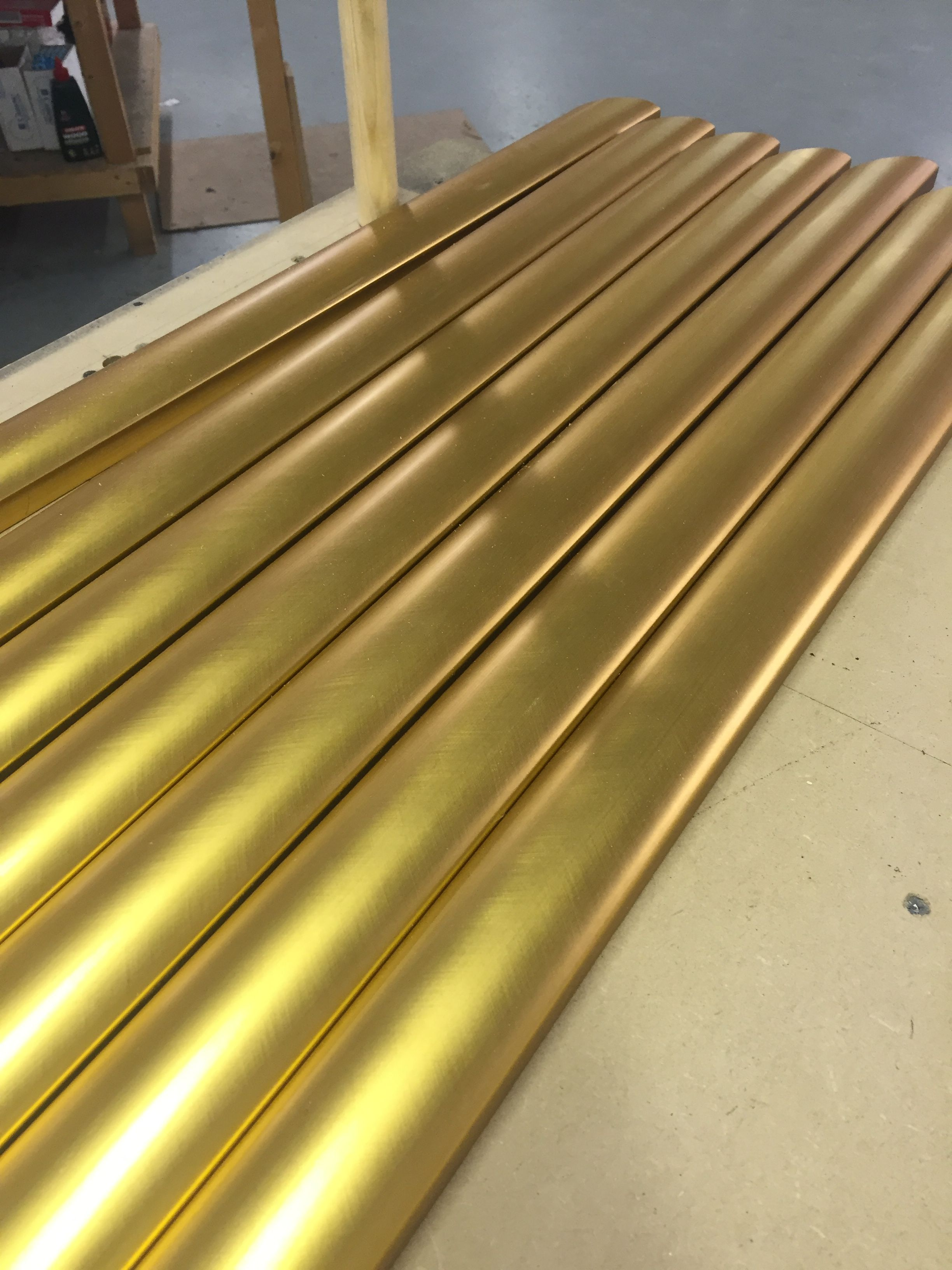 We are making frames with this gold finish wood today! Very bling ...