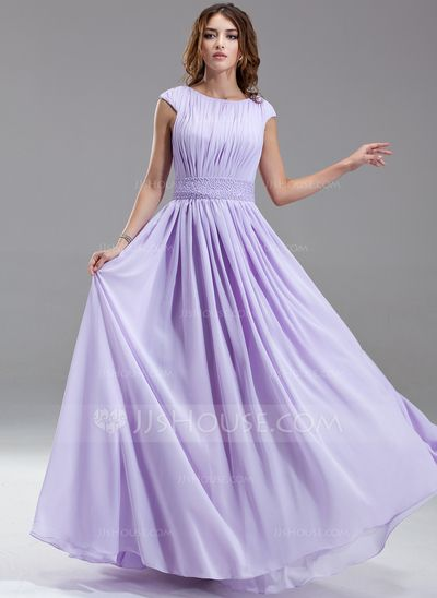Kate Middleton Stil - $139.99 - A-Linie/Princess-Linie U-Ausschnitt Bodenlang Chiffon Kate Middleton Stil mit Rüschen Perlen (044007571) http://jjshouse.com/de/A-Linie-Princess-Linie-U-Ausschnitt-Bodenlang-Chiffon-Kate-Middleton-Stil-Mit-Ruschen-Perlen-044007571-g7571