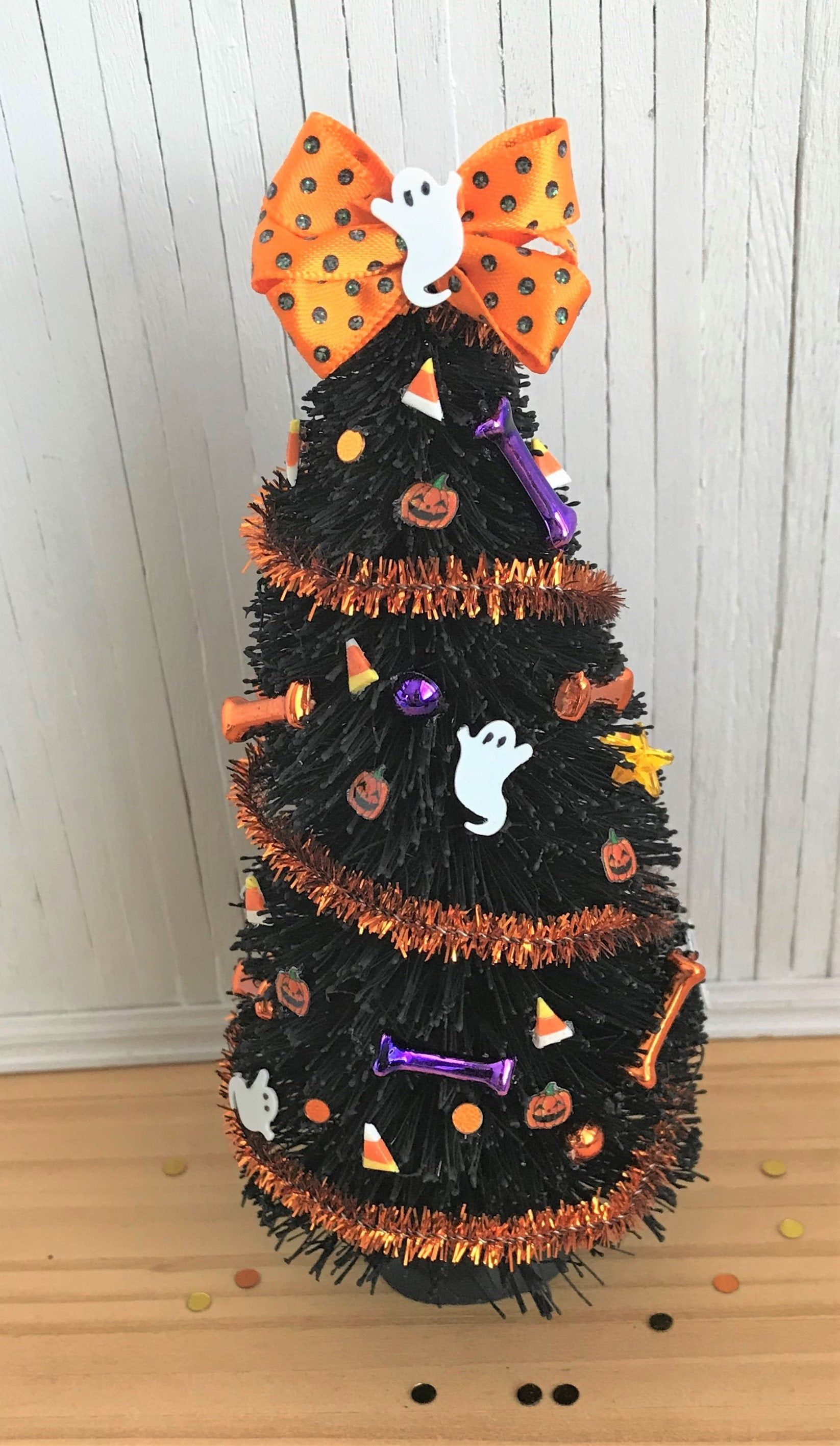 Miniature Halloween Tree, Decorated With Orange Tinsel and