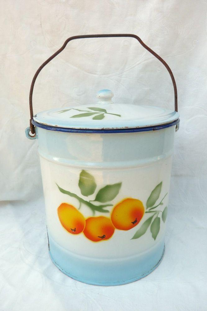 Ancien Seau Pot De Chambre En Metal Emaille Decor Mandarines N 674 Ebay Enamelware Pot De Enamel