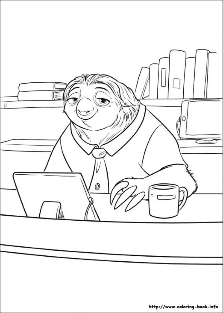 Flash Behind His Desk Difficult Disney Zootopia Coloring Pages