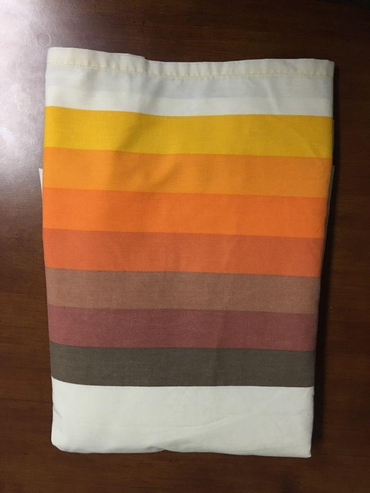 vintage brown orange rainbow wamsutta ultrascale double retro fitted sheet only - Wamsutta Sheets