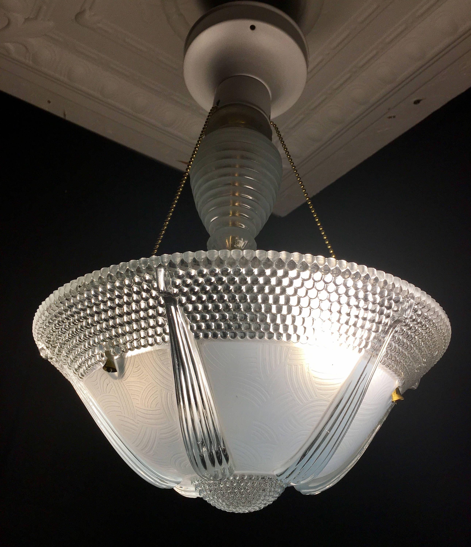 Vintage 3 Chain Pale Blue Art Deco Ceiling Light Fixture By Vintageclassicstyle On Etsy Vintage Pendant Lighting Vintage Ceiling Lights Antique Ceiling Lights