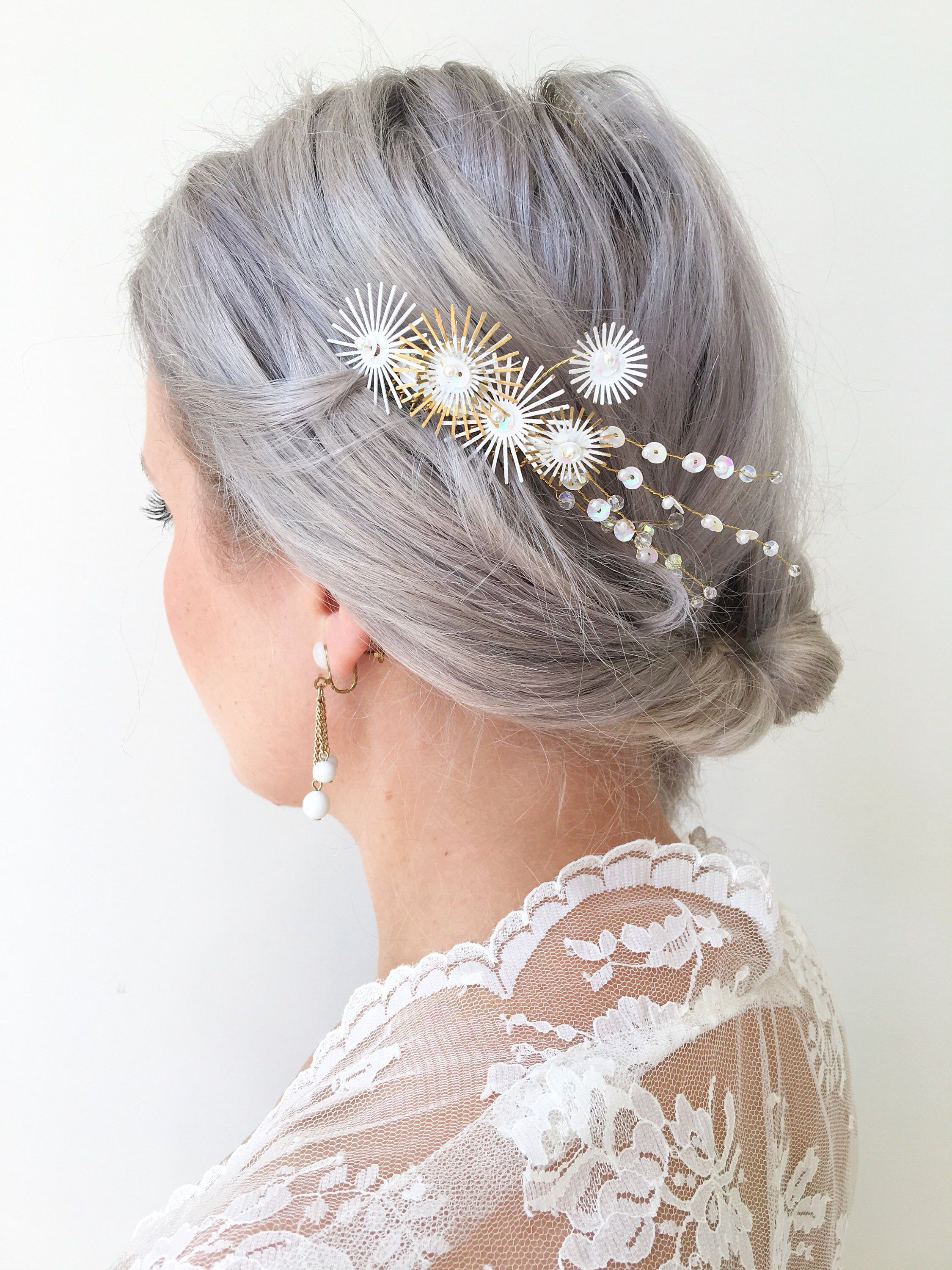 bridal hair comb. white gold comb. spoke hair comb