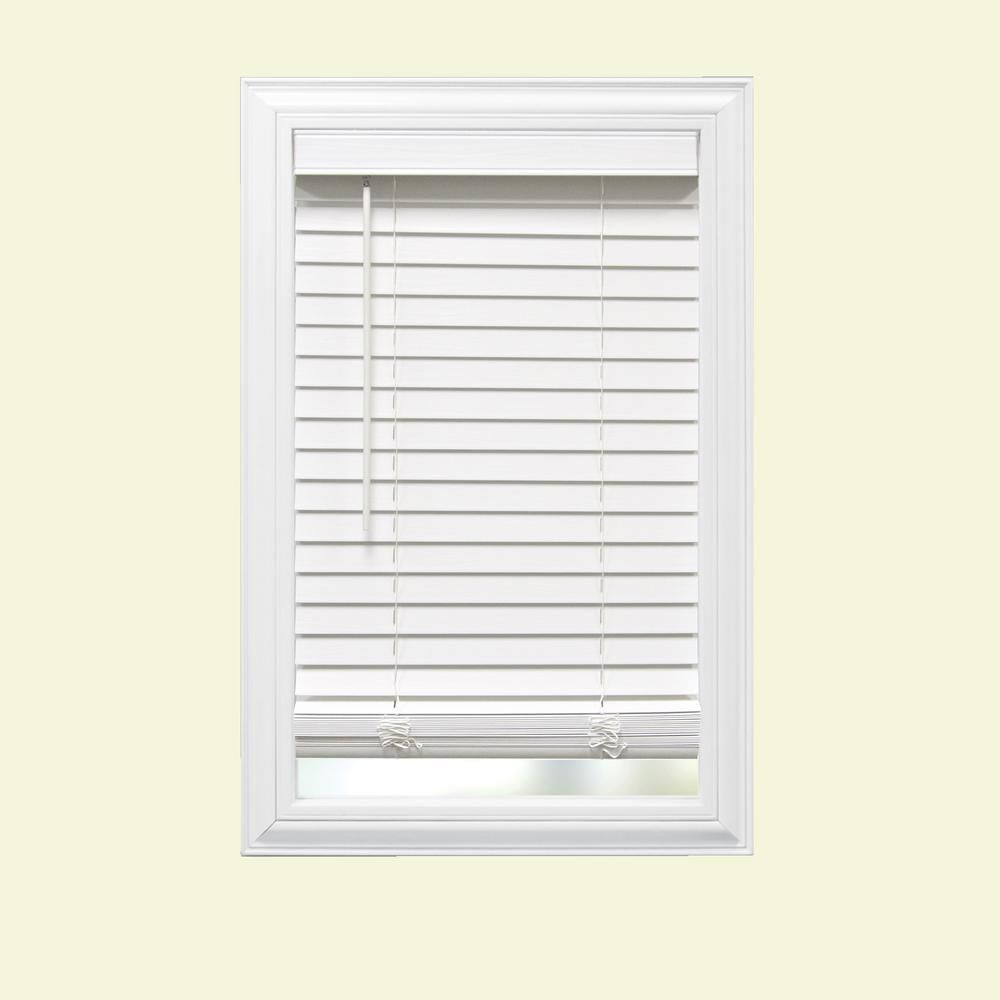 Home Decorators Collection White Cordless Faux Wood Blind With 2