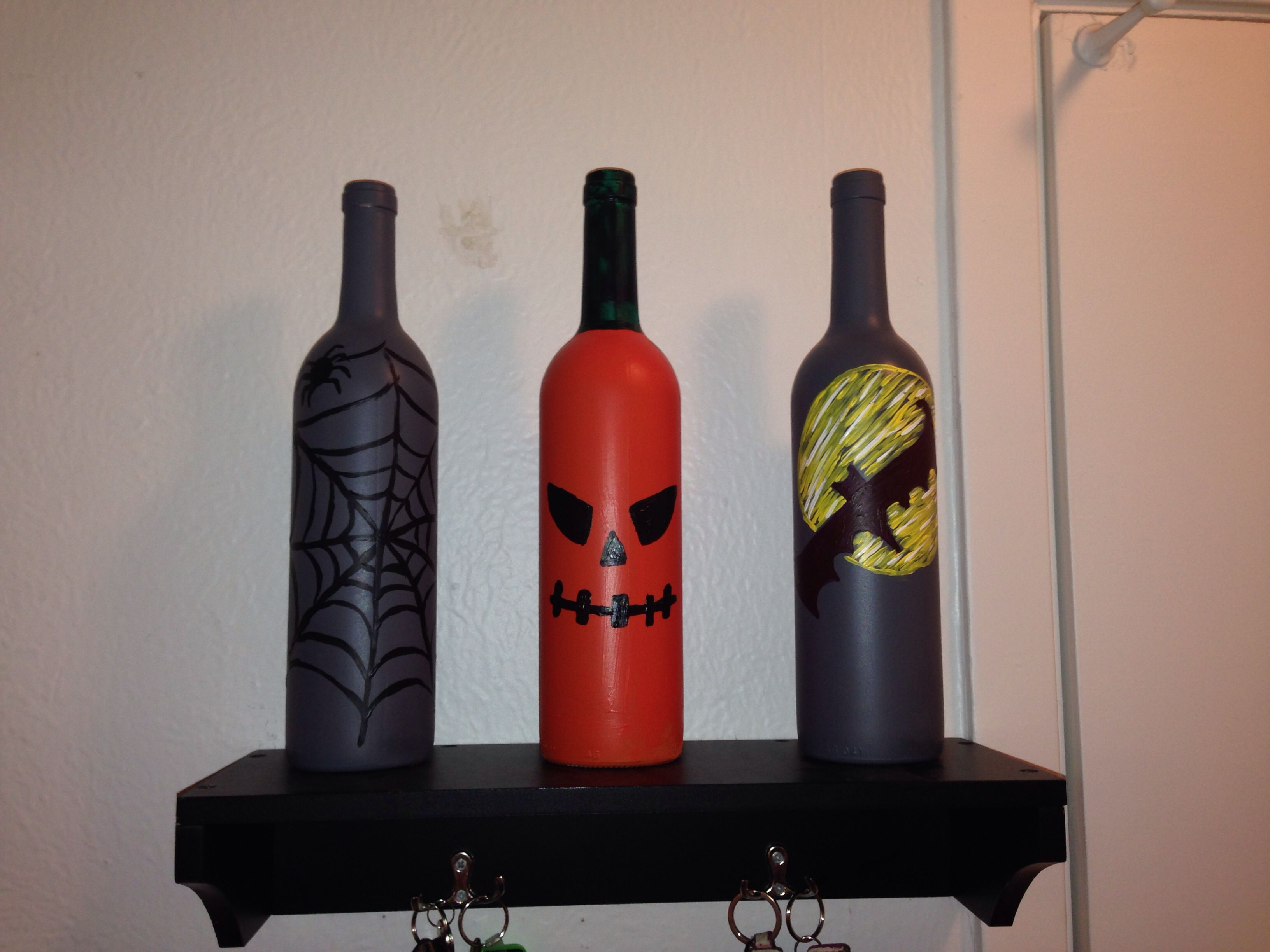 Just Made These Halloween Wine Bottle Halloween Wine Bottles Holiday Wine Bottles Bottle Crafts