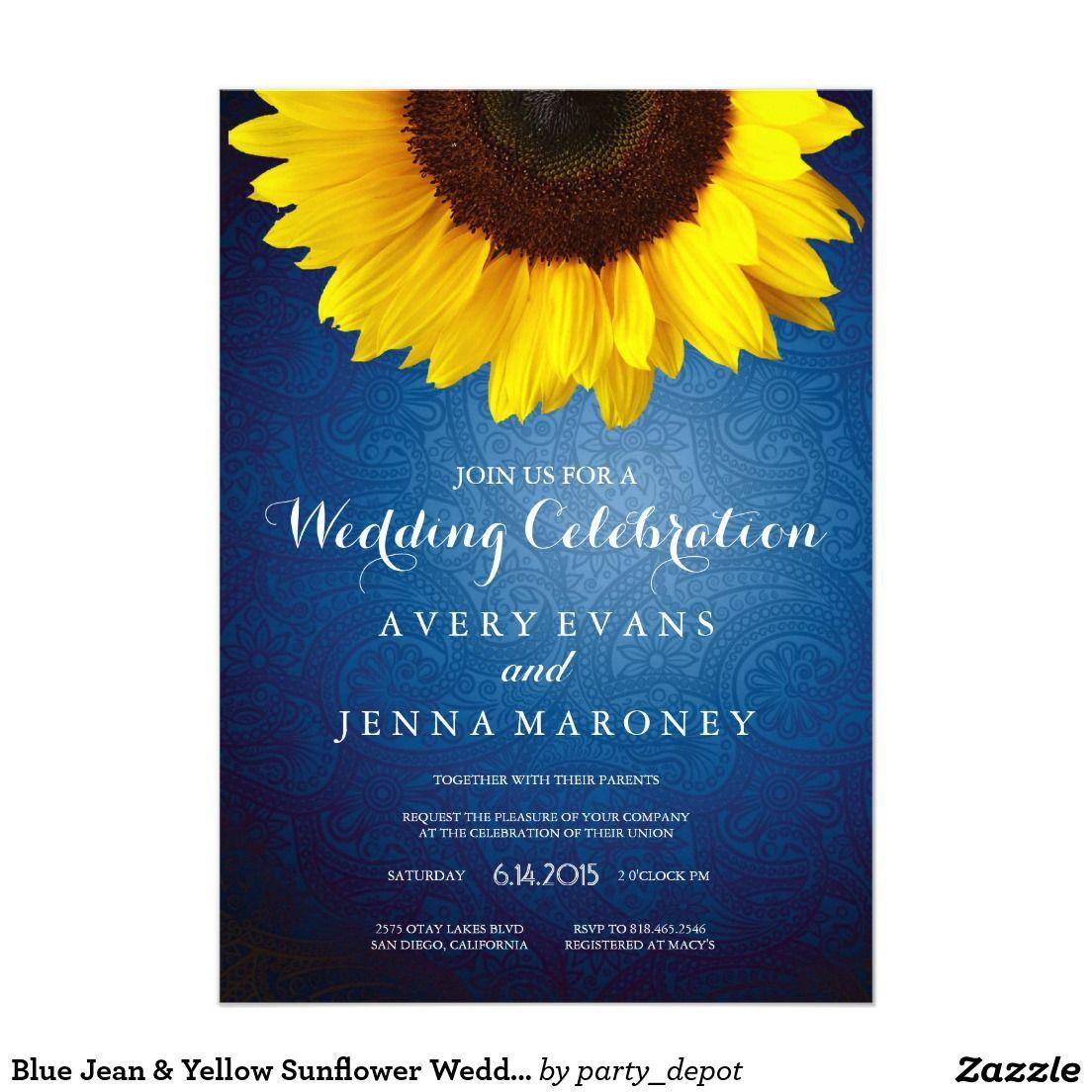 Blue Jean & Yellow Sunflower Wedding Invitation