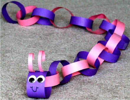 Paper Chain Caterpillar Made With Strips Of Construction 1 Inch By 10 Inches Long Crafts For KidsSpring