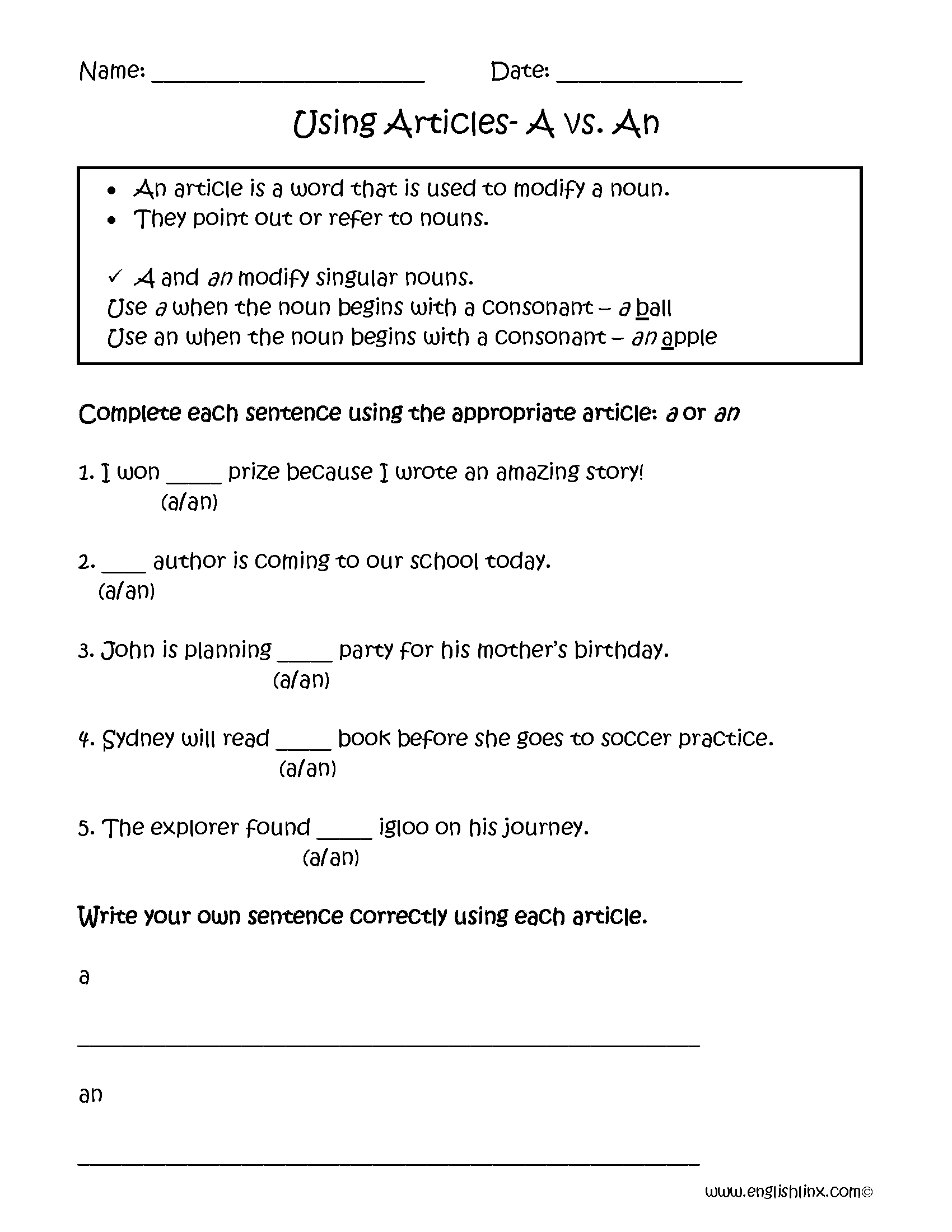 A Vs An Articles Worksheets