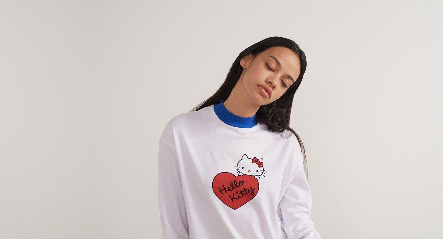 38e321532 Hello Kitty x Lazy Oaf Long Sleeve Split T-shirt - Hello Kitty x Lazy Oaf -  Featured - Womens