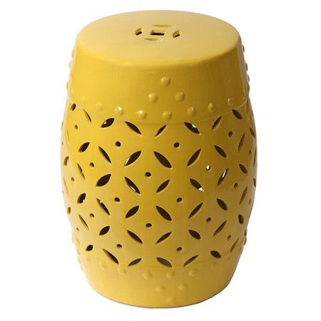 Featuring A Yellow Finish And Cutout Accents, This Ceramic Garden Stool  Seamlessly Transitions From Side