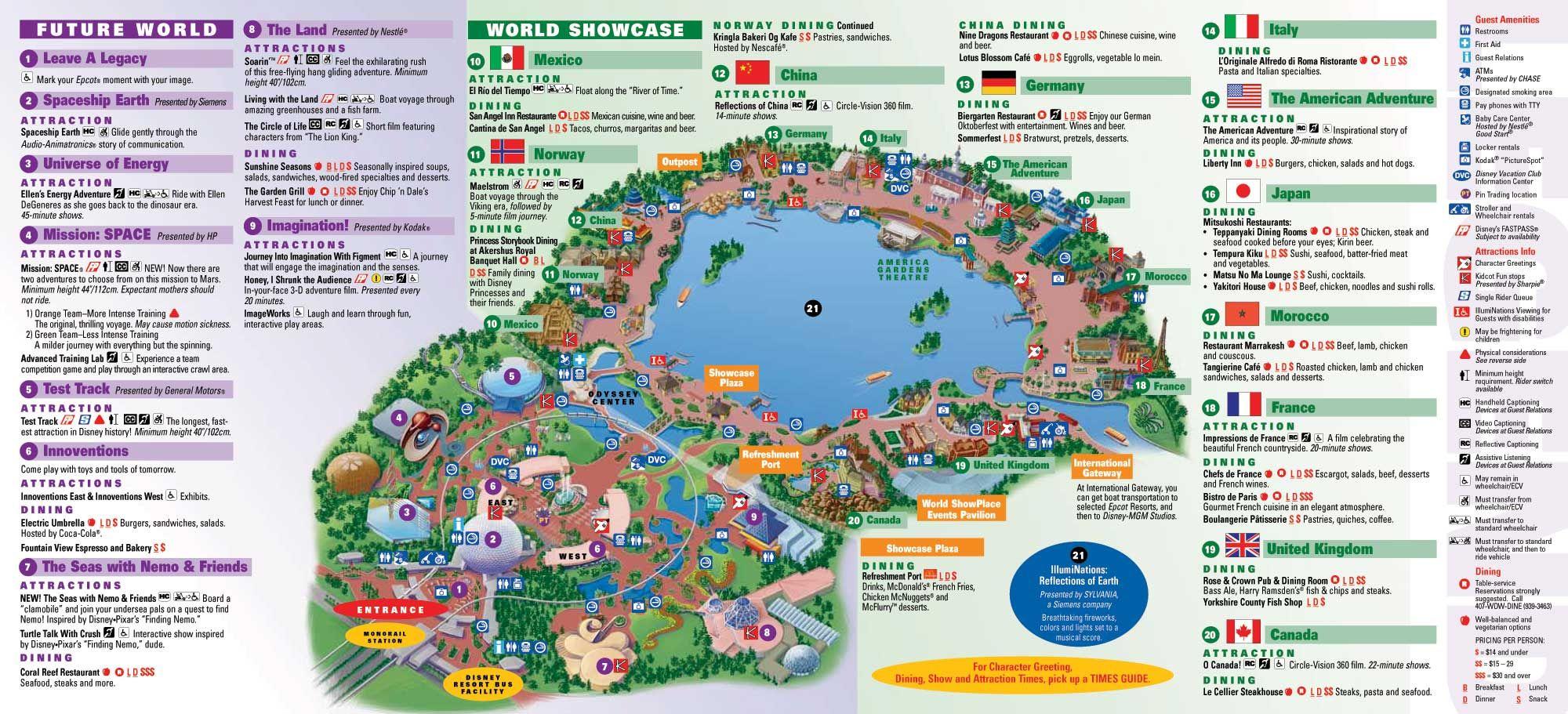 Epcot Disney World Map Epcot | Epcot map, Disney world map, Disney world epcot map