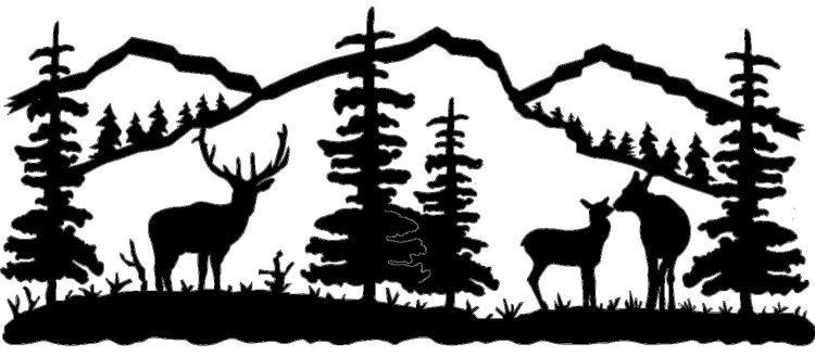 Wildlife Clip Art Silhouettes Mountain Scene Deer Family