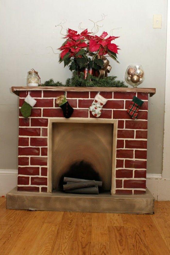 chemin e en carton d coration r chauffante le c ur deco christmas cardboard fireplace et. Black Bedroom Furniture Sets. Home Design Ideas