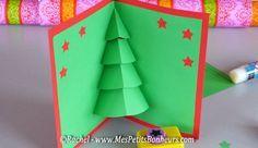 Sapin Colle Sur Carte Rouge Cartes De Noel Pop Up Carte Noel