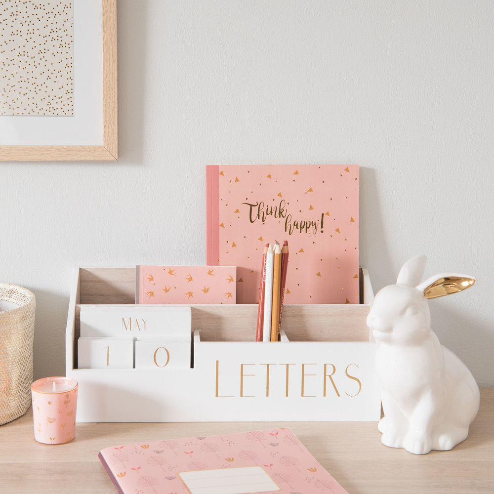 White Perpetual Calendar Letter Holder   Maisons du Monde