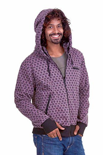 FLOWER OF LIFE hoodie jacket, mens sacred geometry clothing, mens Goa psytrance hooded top, hippie hippy rave hoody jumper with thumb holes