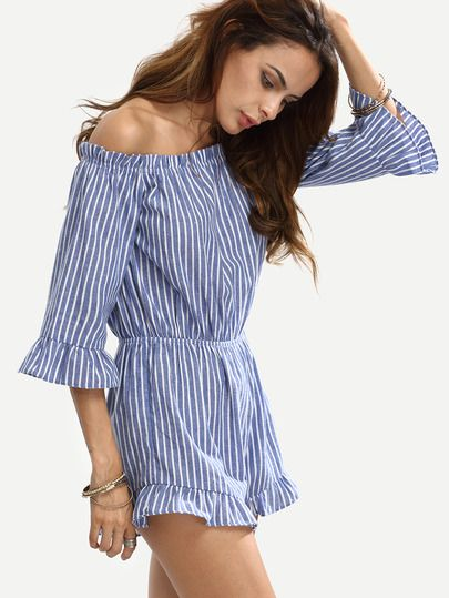 7104dae9e274 Shop Blue Striped Off The Shoulder Ruffle Jumpsuit online. SheIn offers Blue  Striped Off The Shoulder Ruffle Jumpsuit   more to fit your fashionable  needs.