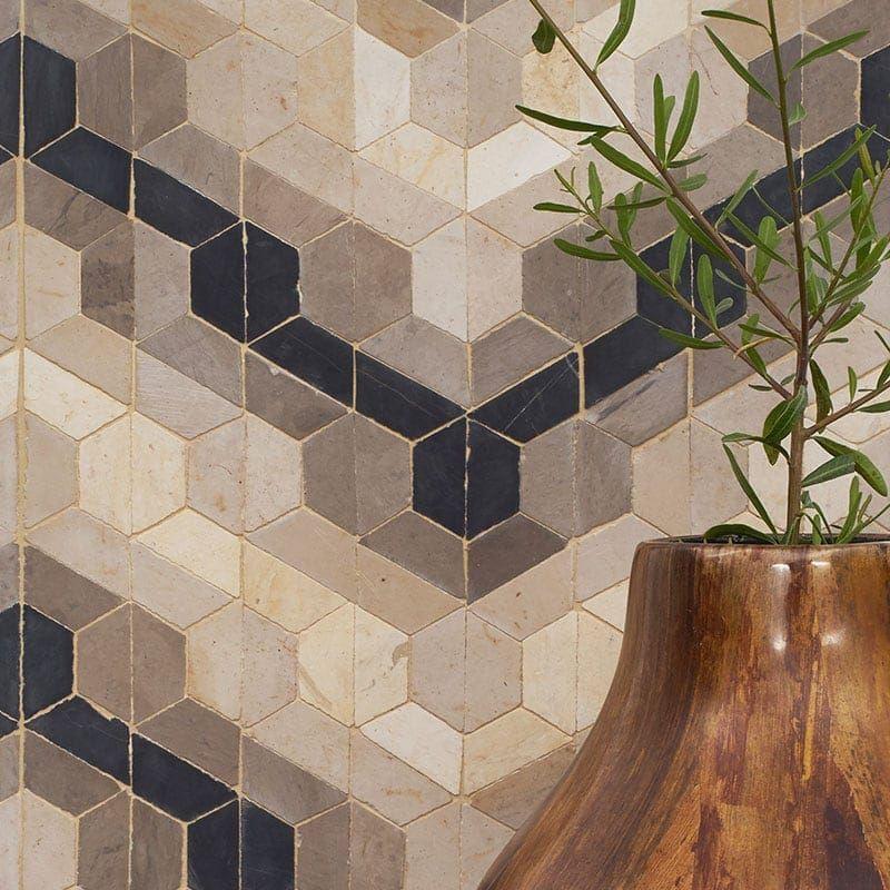Shiri Honed Limestone Mosaics 12x9 Country Floors Of America Llc Mosaic Flooring Limestone