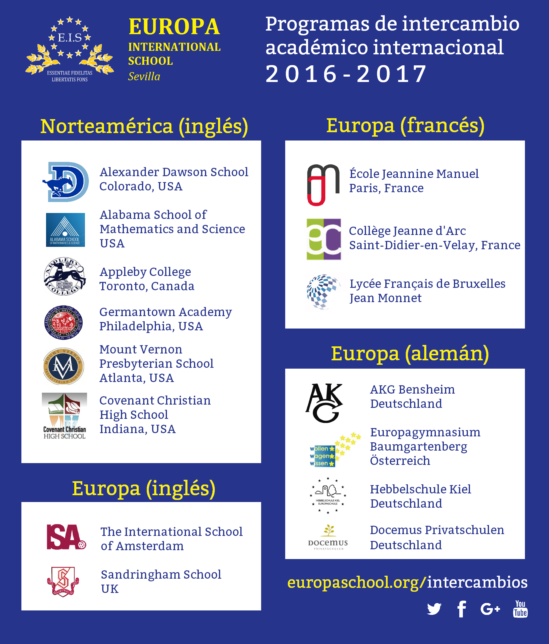Intercambios internacionales 2016-2017