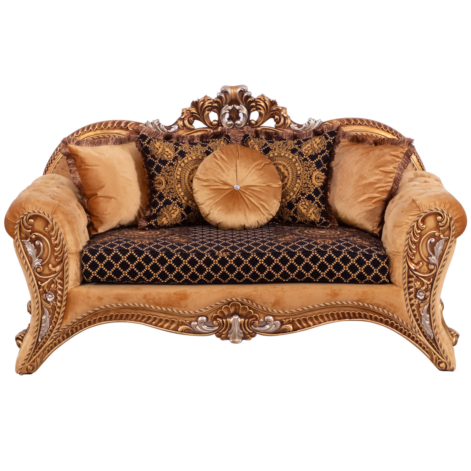 Grand European Luxury Furniture 42035 S Emperador Sofa Fabric Carved Antique Brown Silver Mahogany In 2020 Luxury Furniture Furniture Luxury Furniture Stores