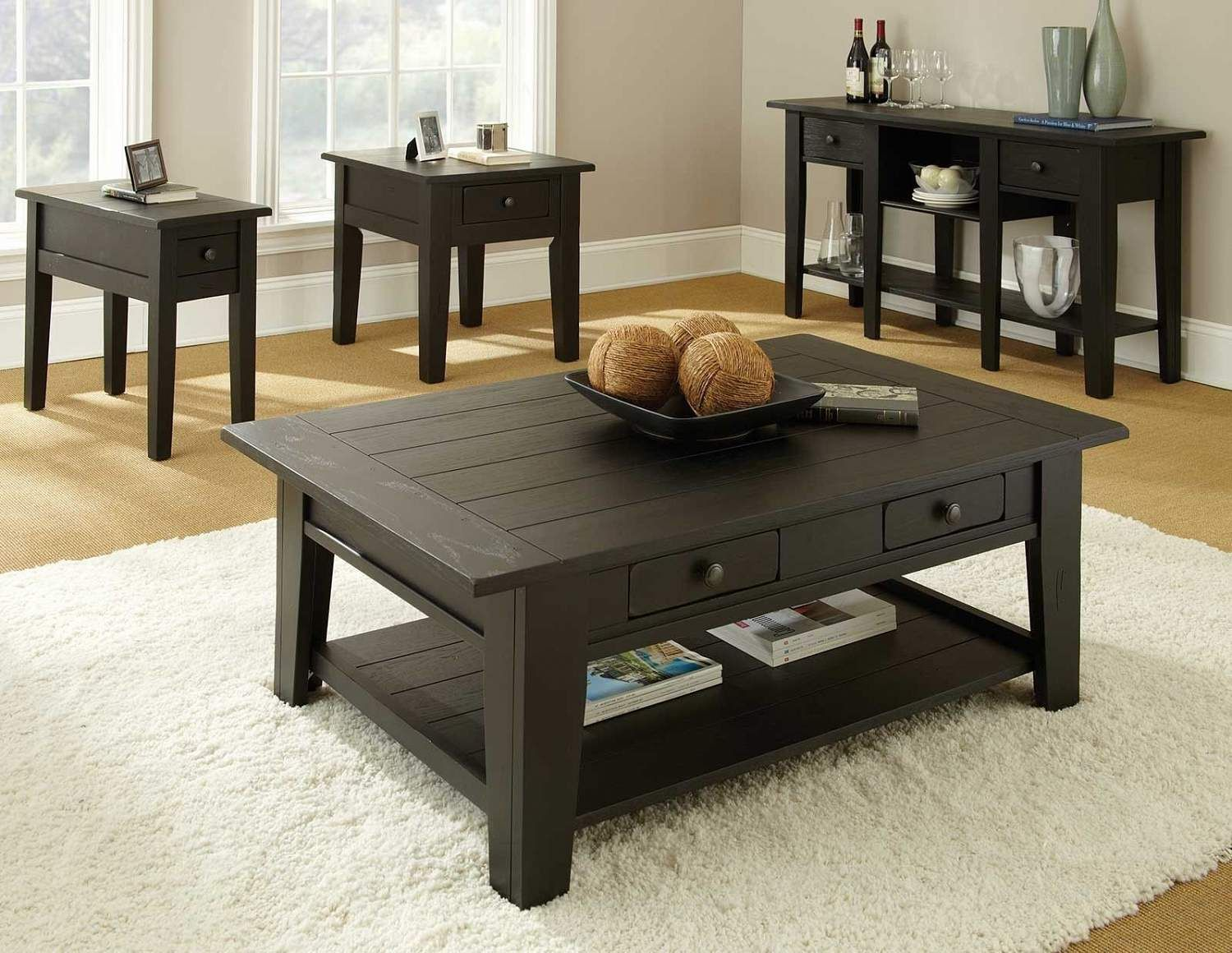 Rubbed Finish Cocktail Table Ffo Home Coffee Table Square Black Coffee Table Sets Craftsman Coffee Tables [ 1160 x 1500 Pixel ]