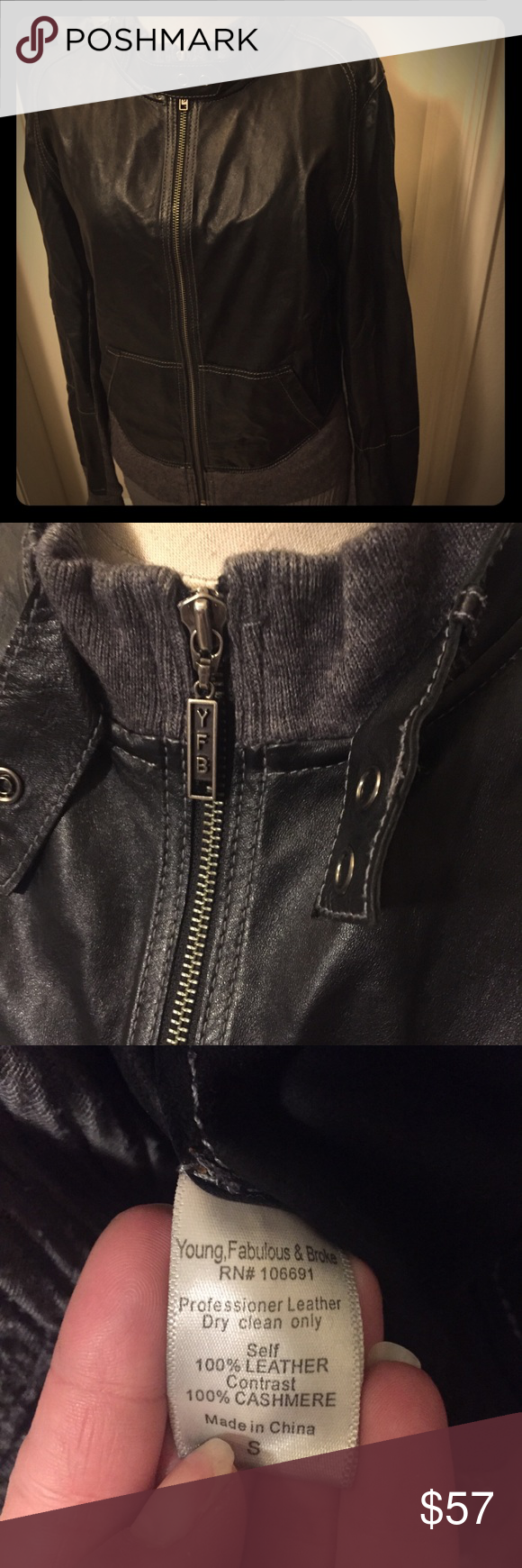 Young, Fabulous, & Broke Jacket Size small real leather jacket with ...
