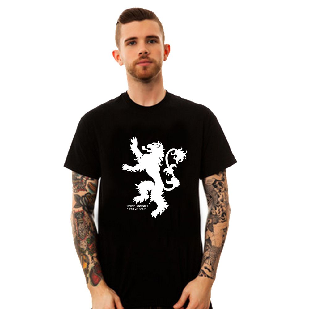 Design t shirt games online - Free Shipping New Slim Fit Game Of Thrones T Shirts House Lannister Short Sleeve Men T