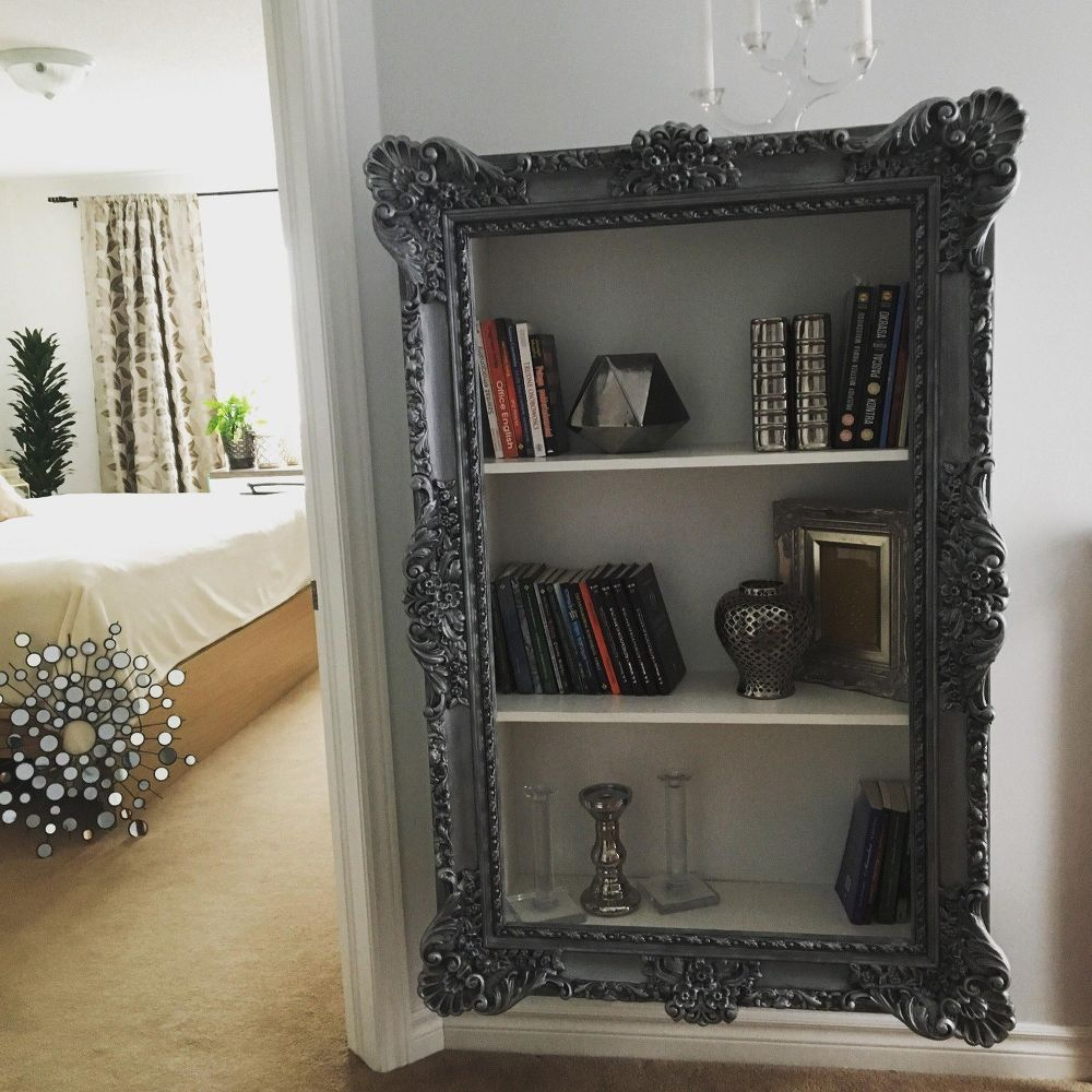 Customiser Miroir Sans Cadre diy project. upcycle your old frame into trendy bookshelf