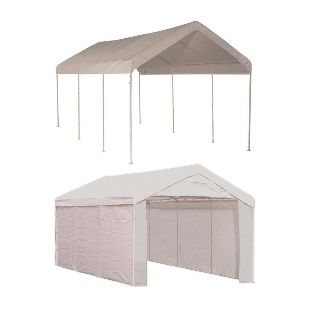 Shelterlogic 10 Ft W X 20 Ft D Max Ap 2 In 1 8 Leg Canopy In White With Enclosure Kit Steel Frame And Twist Tie Tensions 23529 The Home Depot In 2020 White Canopy Canopy Backyard Shade